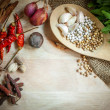 Stock Photo: Herbs and spices on wooden