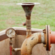 Stock Photo: Old of gage meter and water pipe