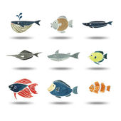 Illustration of fishes group watercolor painting — Stock Photo