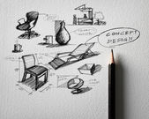 Pencil sketch of furniture concept design on white paper — Stock Photo