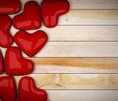 Red heart on wood floor 3d rendering — Stock Photo