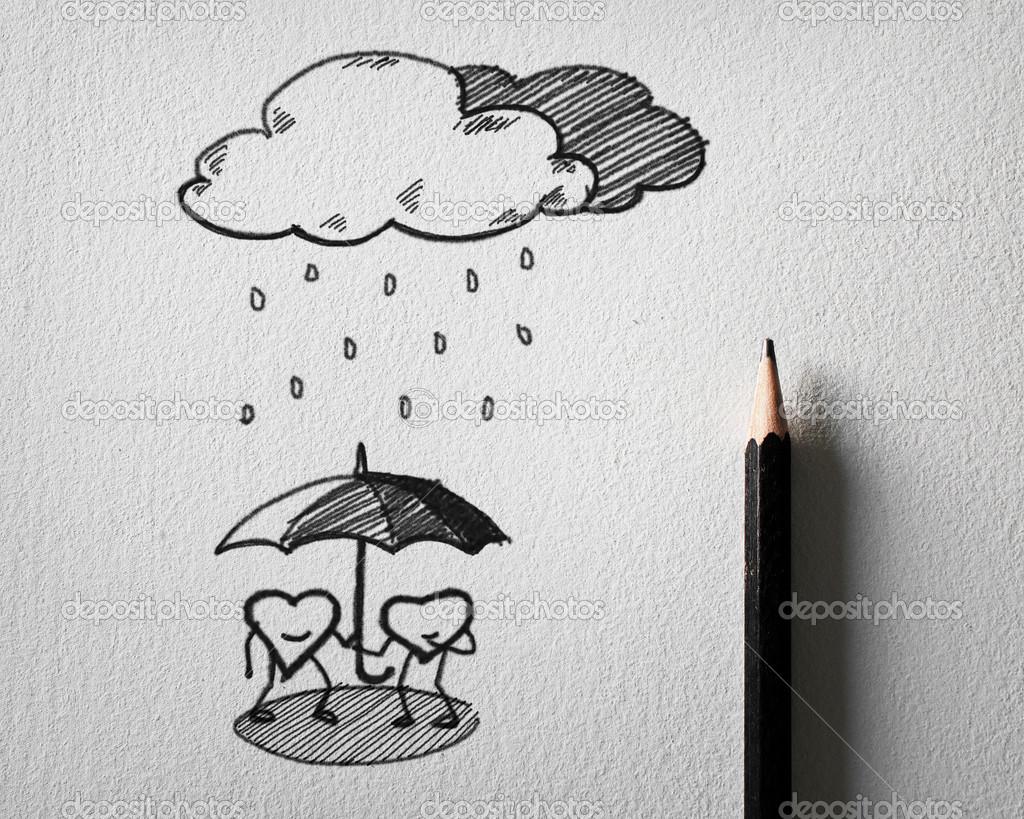 bleistift skizzieren f r herz sch tzen das regen konzept auf wei em papier stockfoto sayhmog. Black Bedroom Furniture Sets. Home Design Ideas