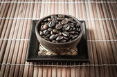 Coffee seed in the wood cup — Foto Stock
