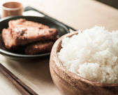 Rice and fried pork — Stock Photo