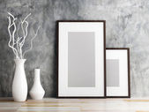 Picture frame and vase on wood floor decorate — Zdjęcie stockowe