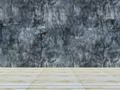 Wood floor and concrete wall background — Foto Stock