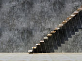Wood stair and concrete wall conception — Stock Photo
