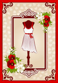 Fashionable dress with flowers and ornaments — Stock Photo
