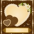 Vintage lace heart with flowers and ornaments on background — Stock Vector