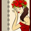 Beautiful silhouette of girl with flowers on tapestry background - Stock Vector