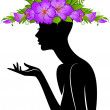 Beautiful silhouette of girl in hat from flowers on white background — Stock Vector #12396980