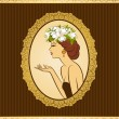 Beautiful silhouette of woman on vintage background — Stok Vektör