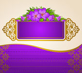Fondo vintage con adornos de encaje y flores — Vector de stock