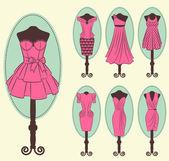 Dantel süslemeli vintage elbise — Stok Vektör