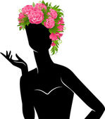 Beautiful silhouette of girl in hat from flowers on white background — Stock Vector