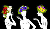 Beautiful silhouettes of girls in hats from flowers — Vettoriale Stock