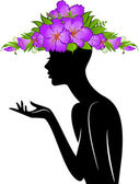 Beautiful silhouette of girl in hat from flowers on white background — Vettoriale Stock