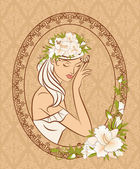 Beautiful silhouette of girl with flowers on tapestry background — Vettoriale Stock
