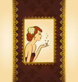 Beautiful silhouette of woman on vintage background — Vettoriale Stock