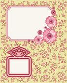 复古缂丝花卉背景与帧 — 图库照片