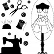 Vintage sewing related elements on the background — Stock Photo #13198463