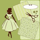 Vintage sewing elements with woman's silhouette on the background — Stock Photo