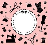 老式缝纫机相关的元素的背景上 — 图库照片