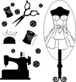 Vintage sewing related elements on the background — Stock Photo