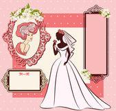 Ročník silueta krásná nevěsta v šatech — Stock fotografie