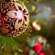 Beautiful color christmas decorations hanging on christmas tree with shiny glare — Stock Photo #20239013
