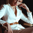Vintage style girl posing white suit. Fashion Photo. — Stock Photo