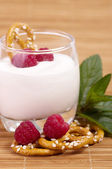Raspberry Yogurt — Stock Photo