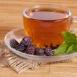 Fruit tea(tea package) in cup with blackberry — Stock Photo