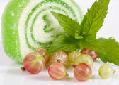 Tasty jelly candy with gooseberry on the white — Stock Photo