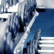 Dumbbells on a rack — Stock Photo