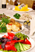 The served dinner table in a restaurant — Stock Photo