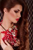 Woman with jewelry bijouterie. — Stock Photo