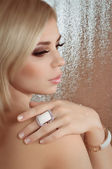Woman with jewelry ring — Foto de Stock