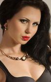 Woman with necklace jewelry — Stock Photo