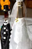 Wedding decorated champagne bottles — Stok fotoğraf