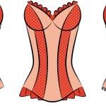 Vintage corsets on ornament background. — Vetor de Stock  #7564371