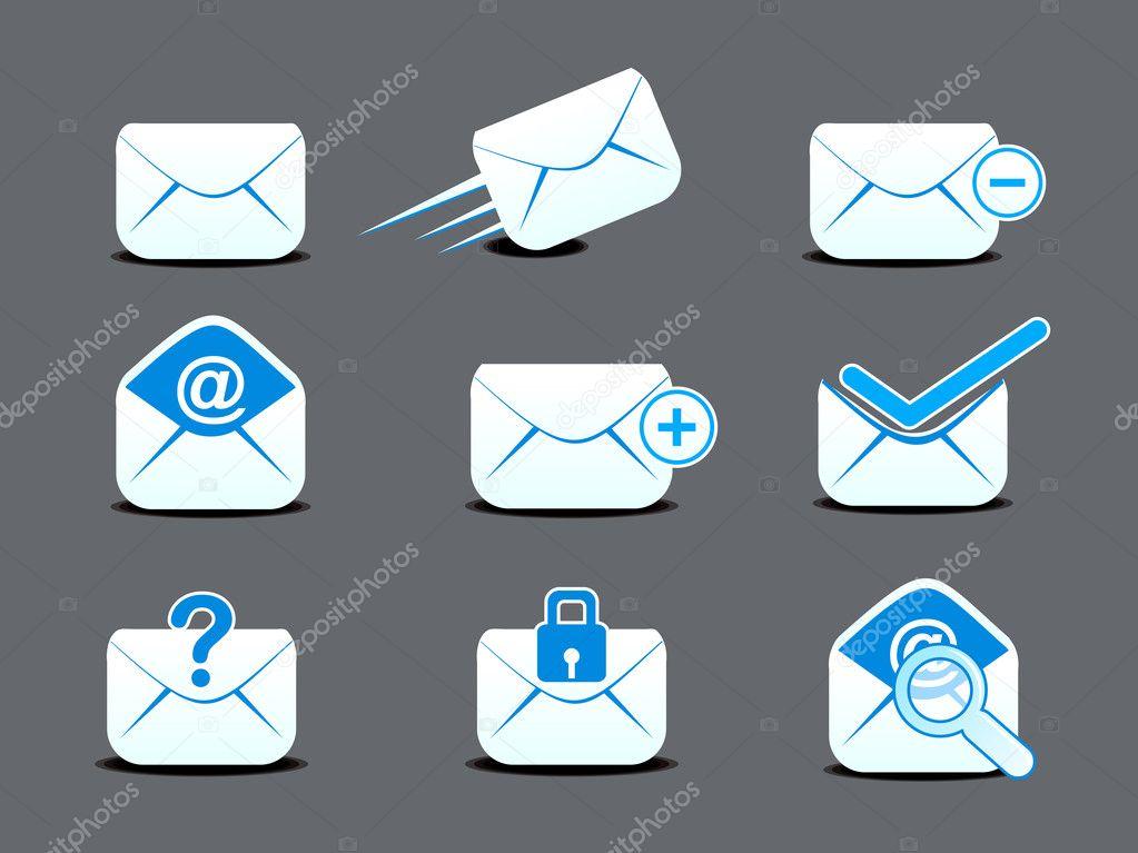 抽象邮件图标设置矢量图