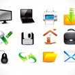 Abstract glossy computre icon set — Stock Vector