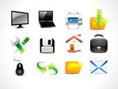 Conjunto de iconos abstractos computre brillante — Vector de stock