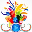 Abstract colorful exploade play button — Stock Vector #25104313