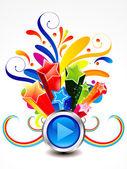 Abstract colorful exploade play button — Stock Vector