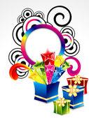 Abstrato colorido explodir caixa mágica — Vetorial Stock