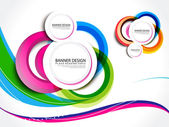 Colorful Wave Banner Background — Stock Vector