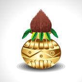 Golden Kalash With Coconut — Stock Vector