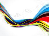 Abstracte kleurrijke golf met pijl — Stockvector
